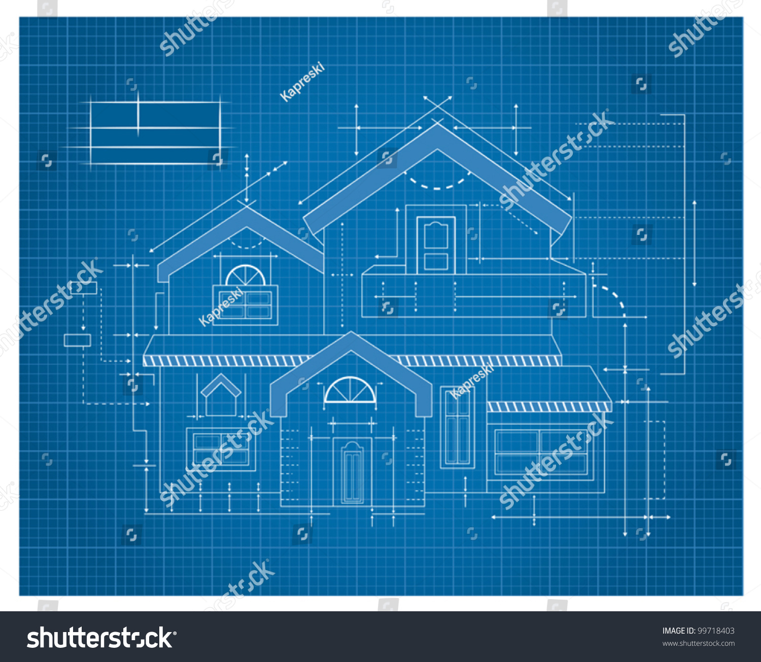 Modern house blueprint stock vector 99718403 shutterstock for Blue print homes