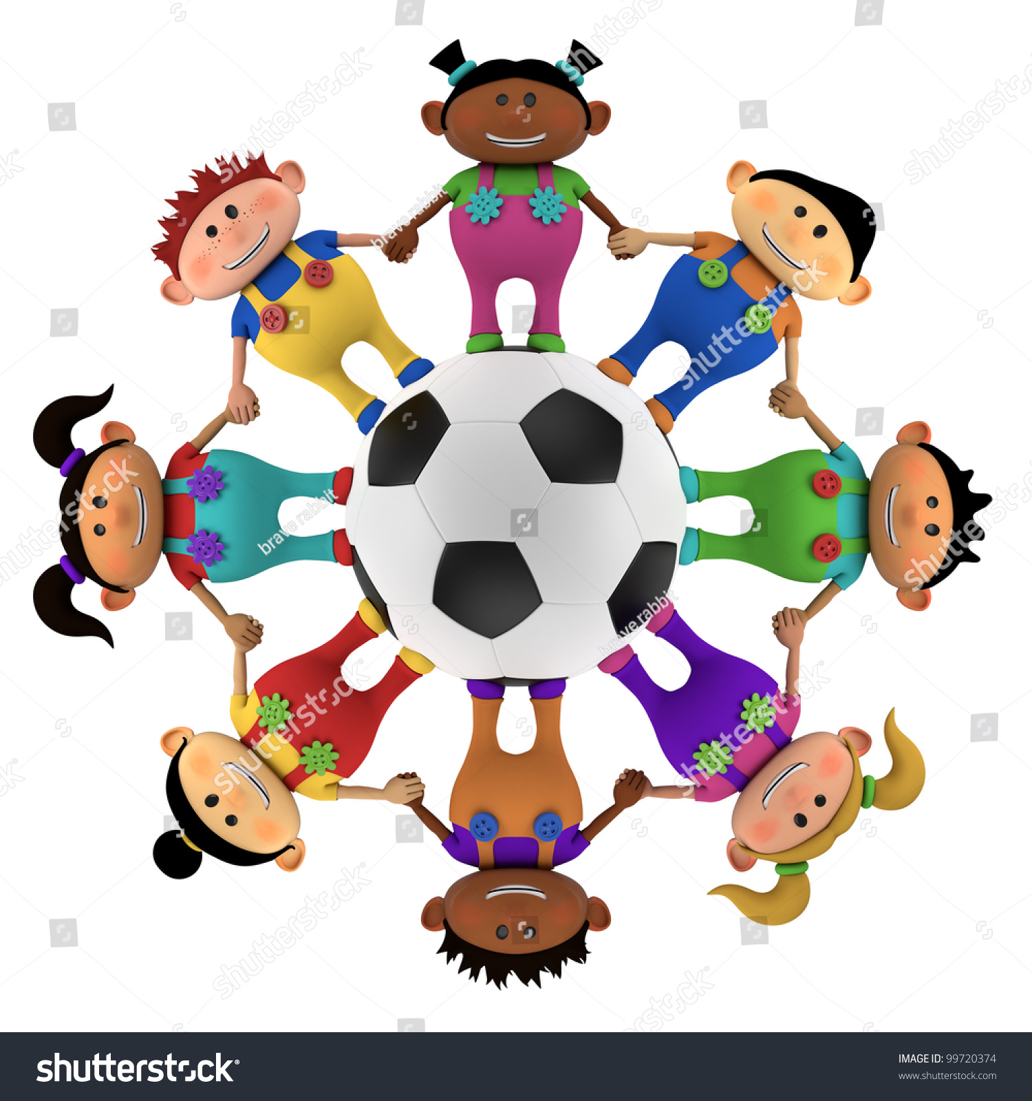 3D  Lolicon young cute little multiethnic cartoon kids holding hands around a big football - high quality 3d illustration