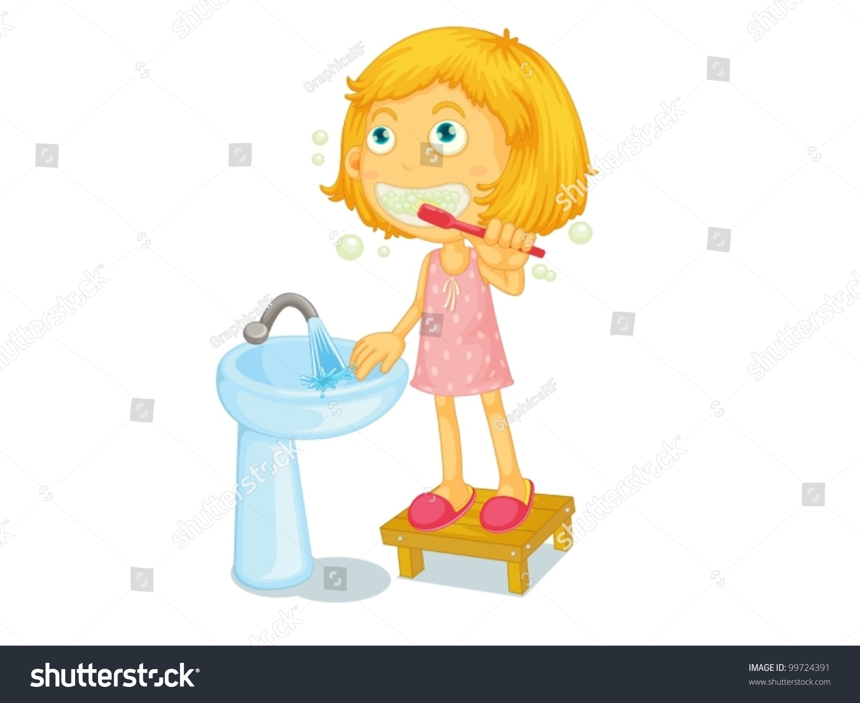Illustration Of Child Brushing Teeth - 99724391 : Shutterstock