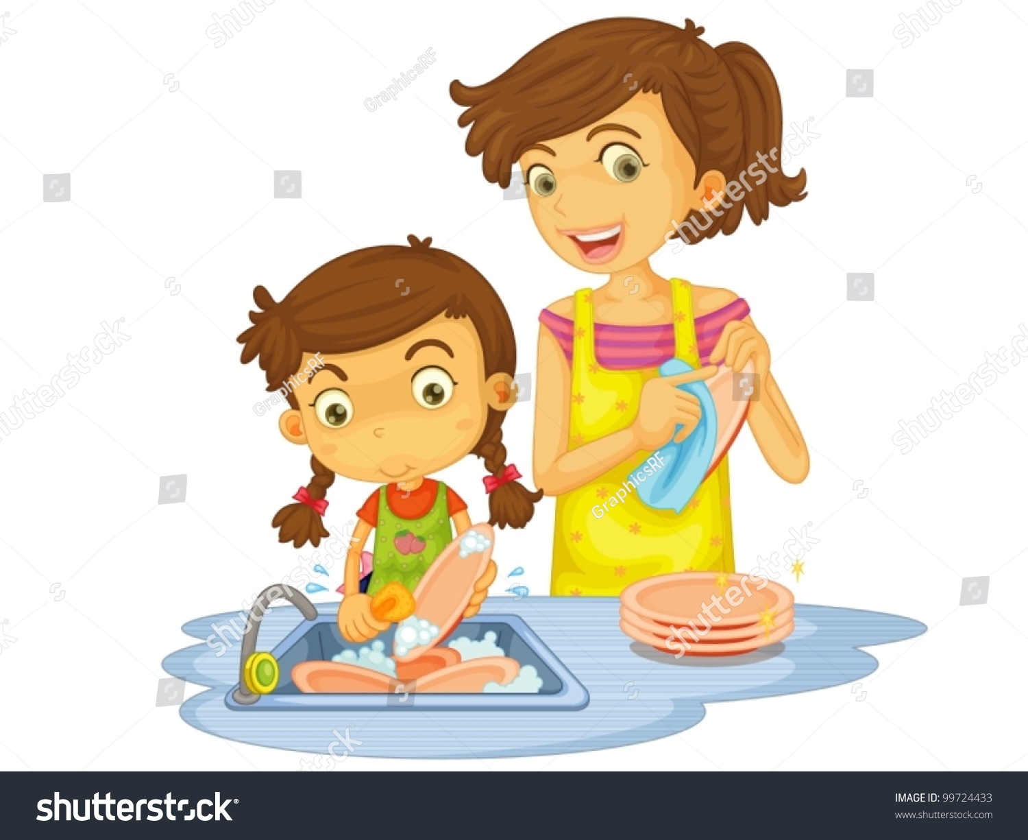Illustration Mother Daughter Washing Dishes Stock Vector ...