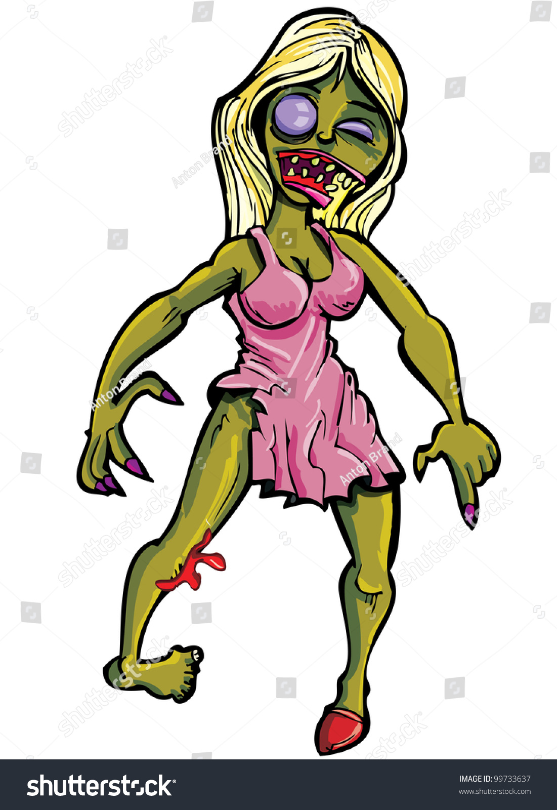 Cartoon zombie woman hardcore thumbs
