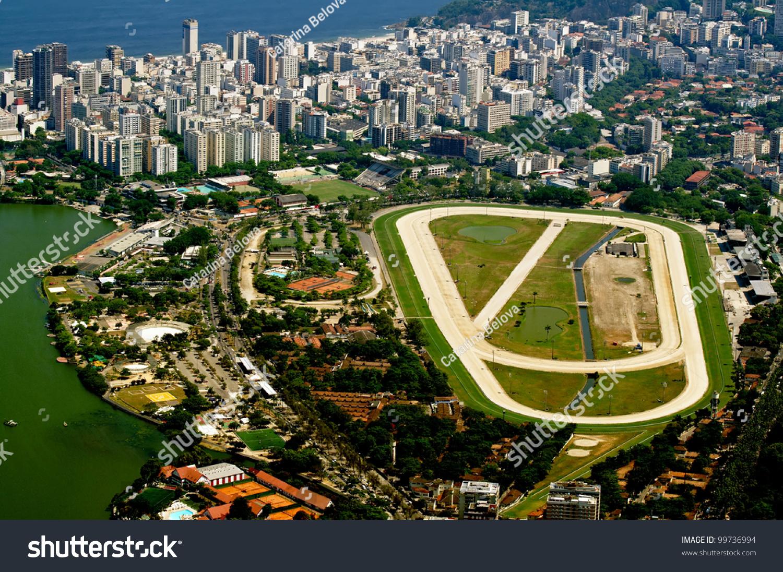 View of jockey club and leblon in rio de janeiro stock for Miroir club rio de janeiro