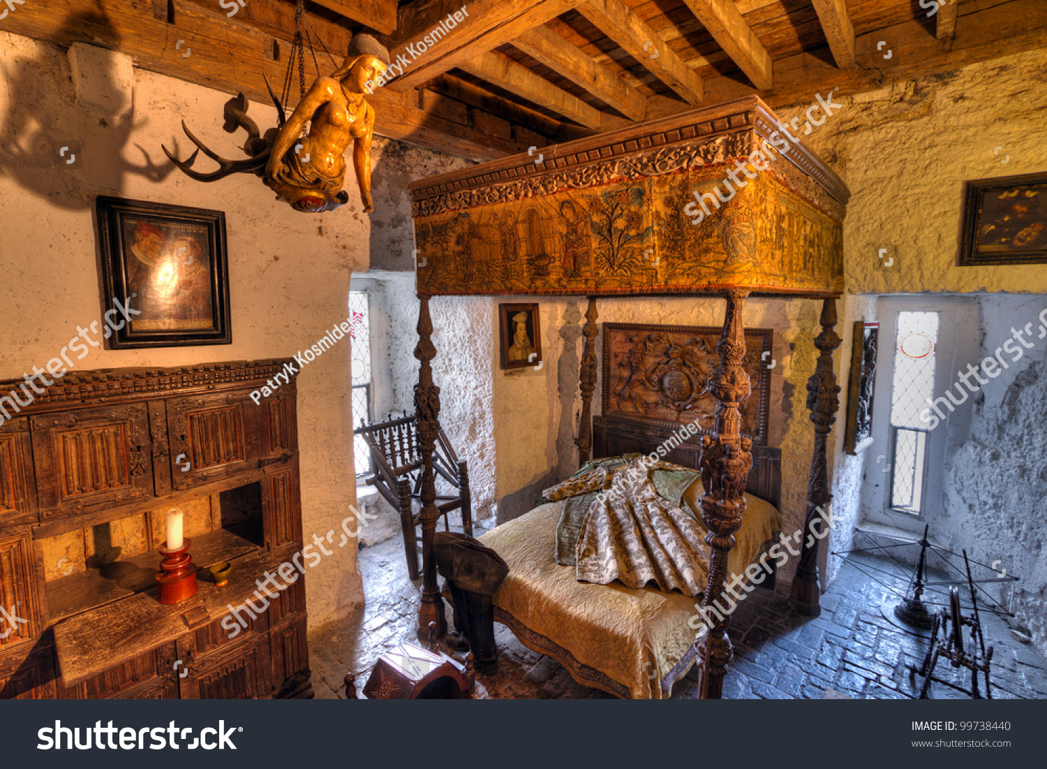 bunratty ireland feb 19 ancient bedroom stock photo 99738440
