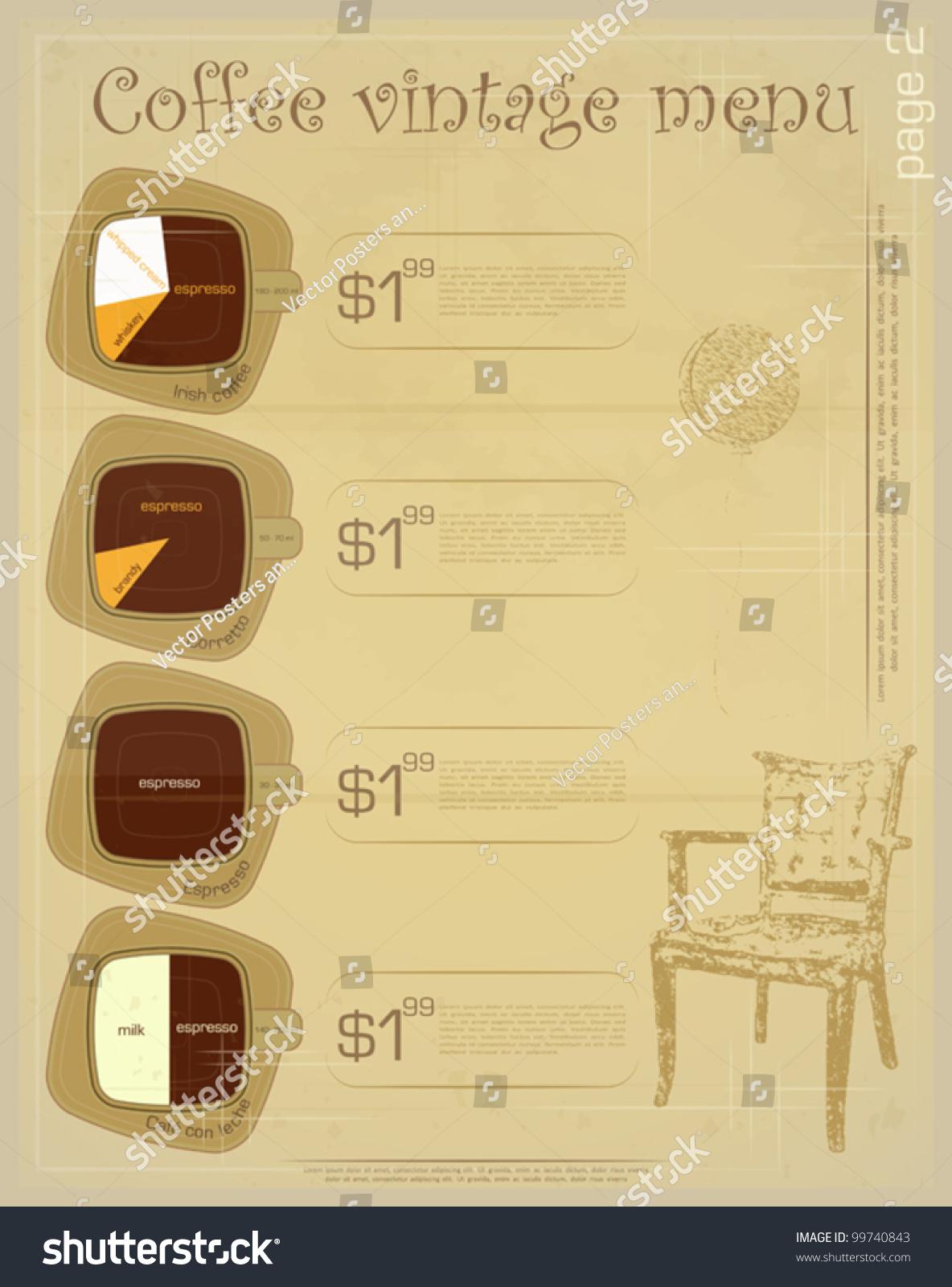 Template of menu for coffee drinks irish corretto for Irish menu templates