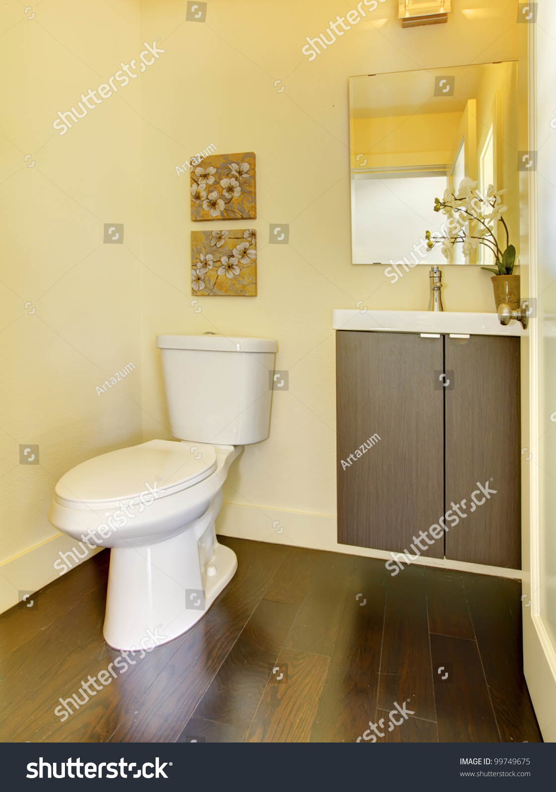 Small New Modern Yellow Bathroom Stock Photo 99749675