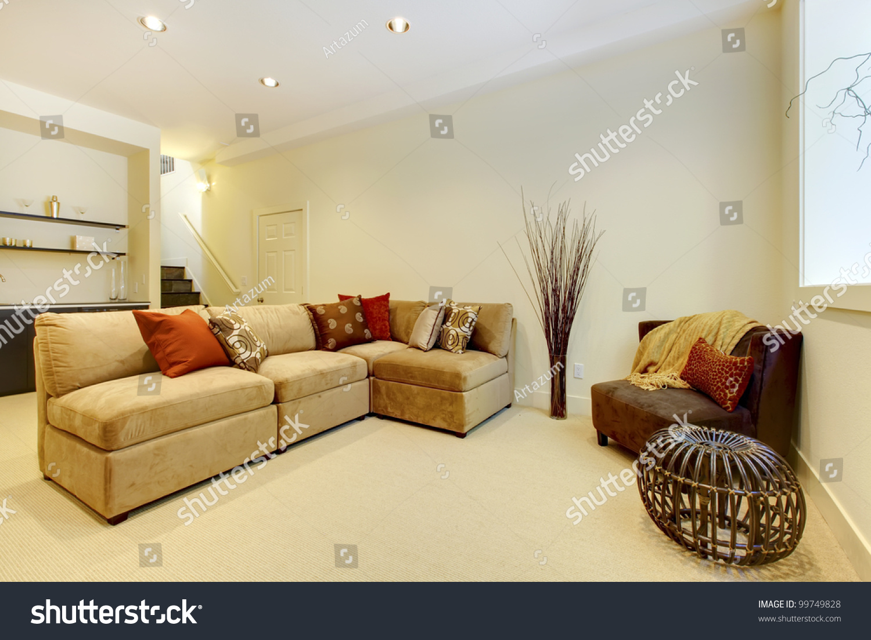basement area with living room and bathroom near bar stock photo