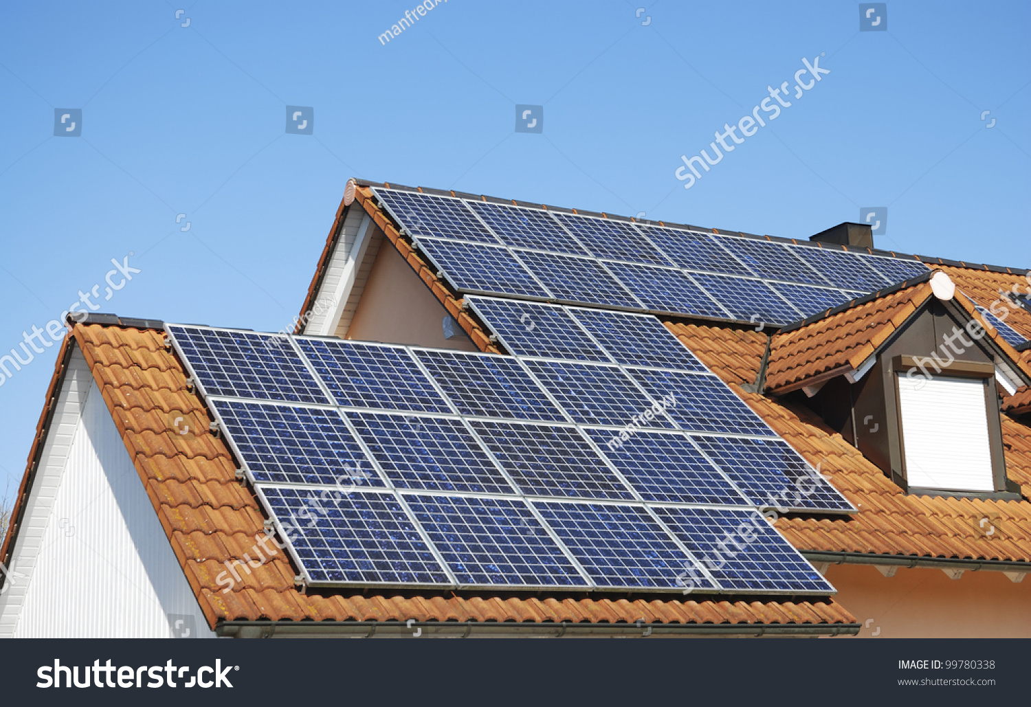Solar Panels On The House Roof Stock Photo 99780338 : Shutterstock