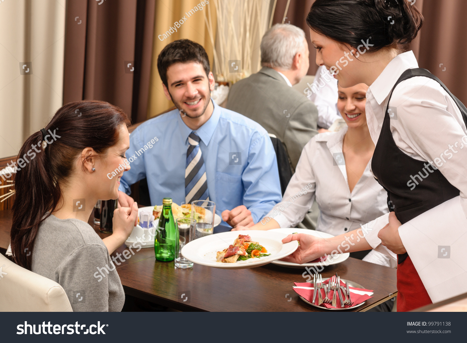 Business People Enjoy Lunch Restaurant Waitress Stock ...