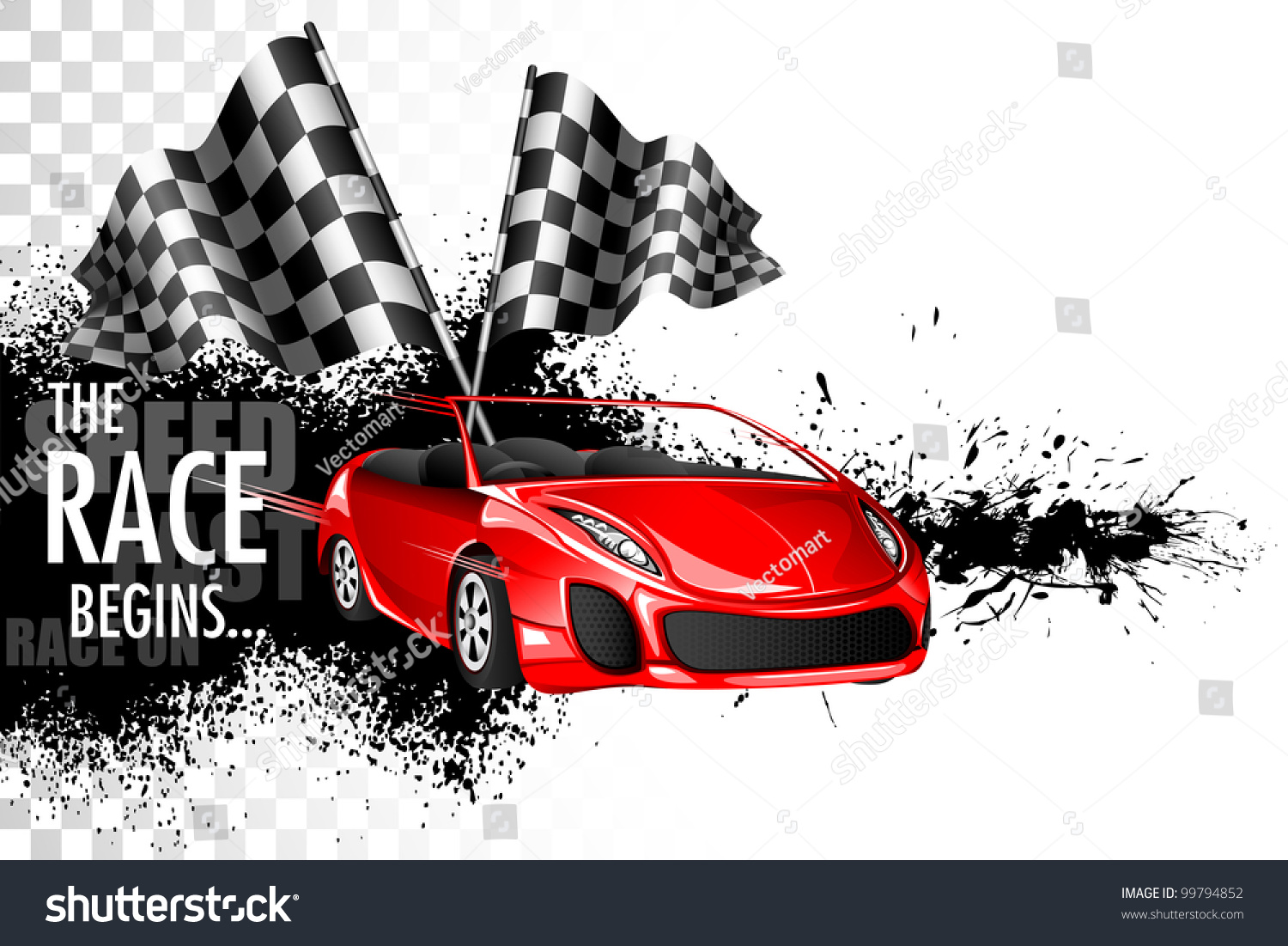 Design car flags - Illustration Of Racing Car With Checker Flag On Grungy Background
