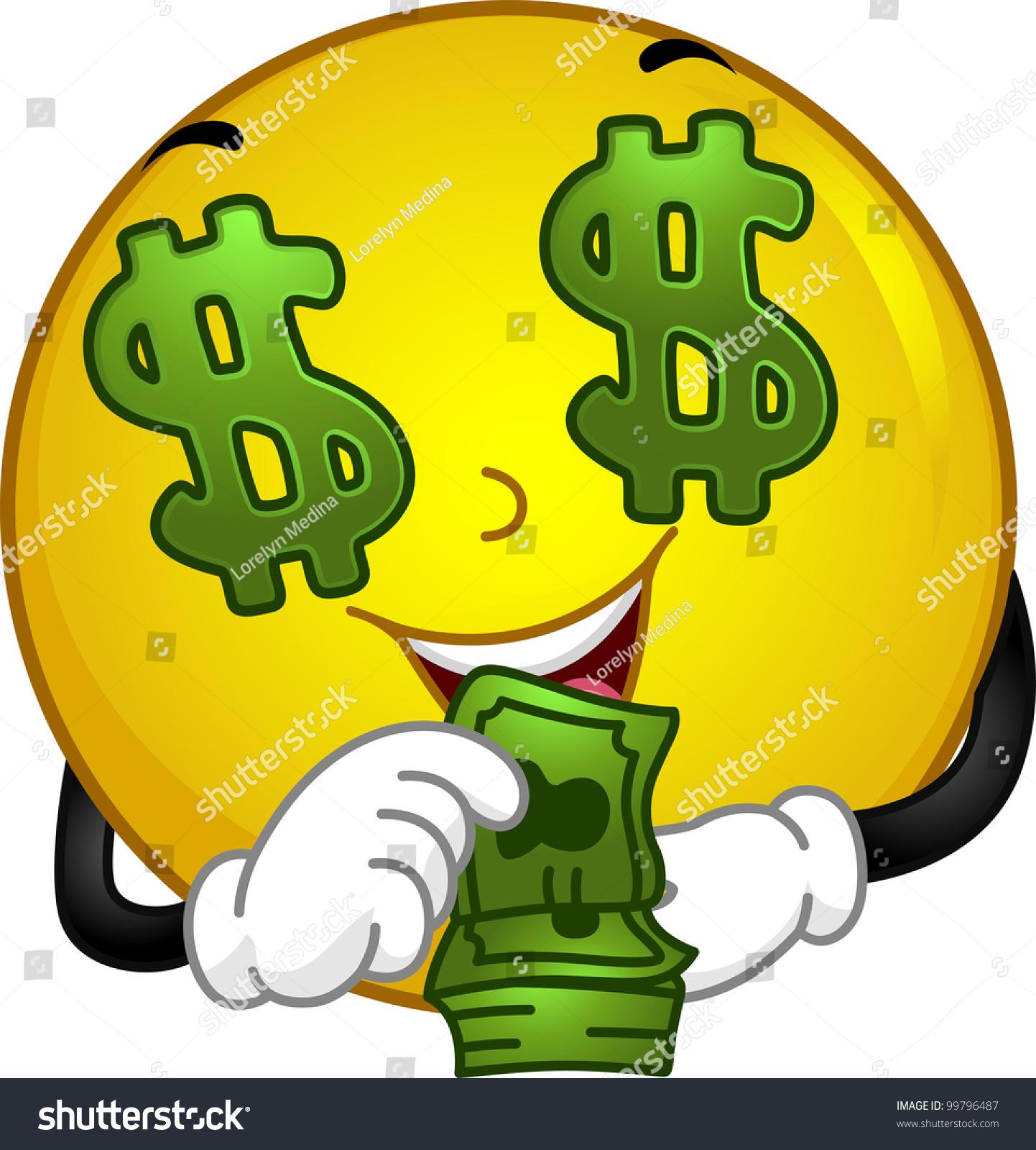 Illustration Featuring Moneyloving Smiley Stock Vector