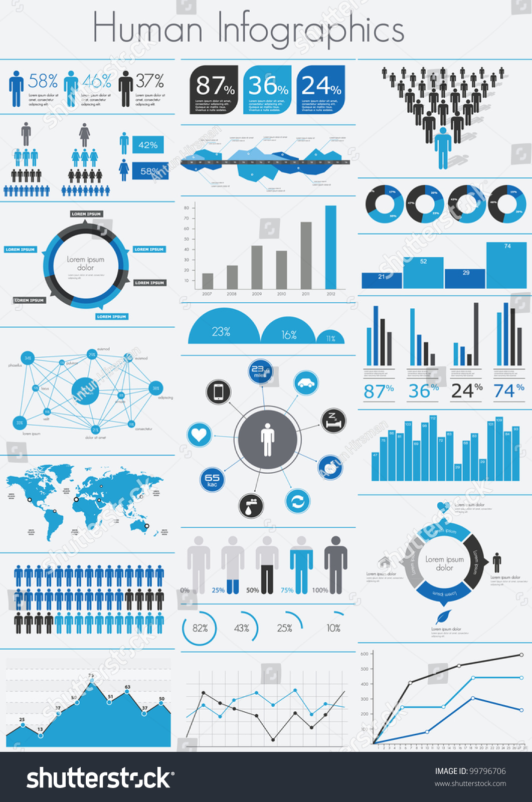 Human Infographic Vector Illustration World Map Stock Vector ...