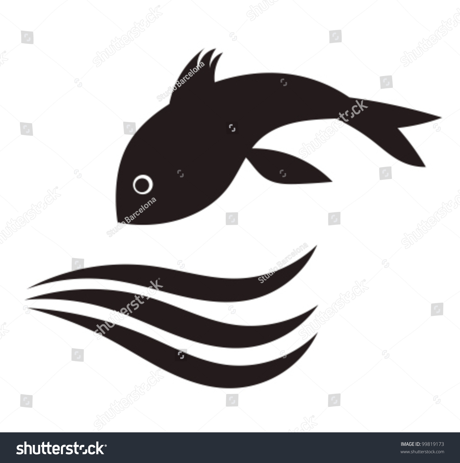 Freshwater fish jumping - Fish Jumping In Water Vector Illustration