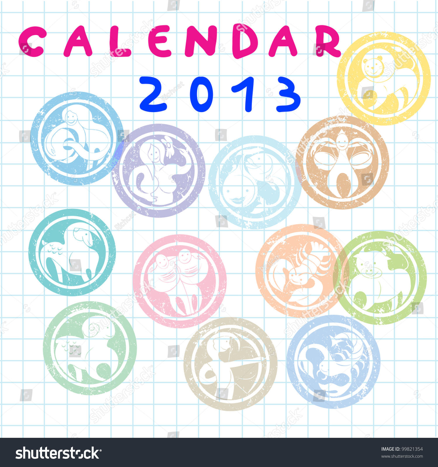 Monthly Calendar Horoscope : Cover for monthly calendar with zodiac signs stock
