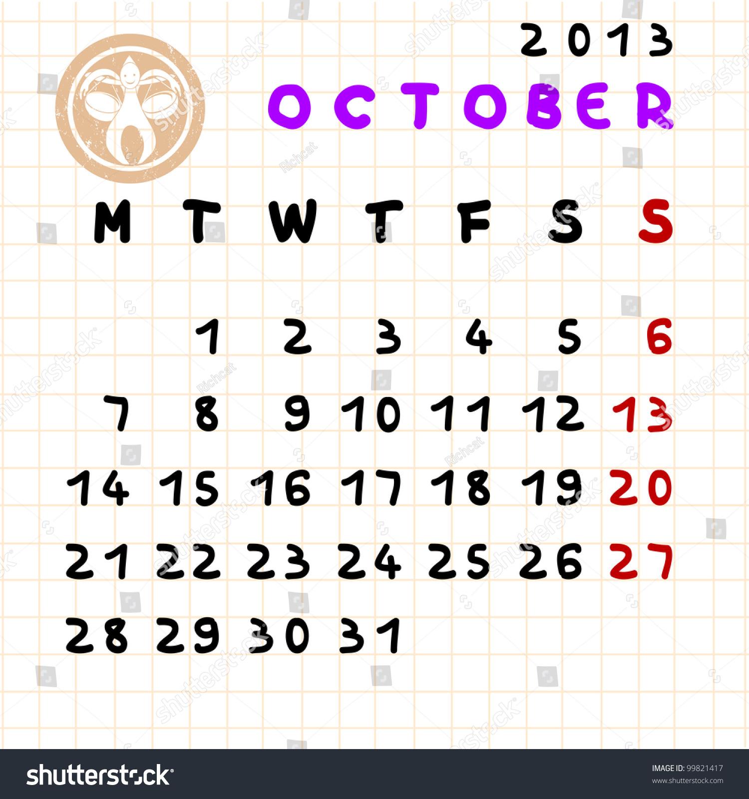 Monthly Calendar Zodiac Signs : Monthly calendar october libra zodiac stock