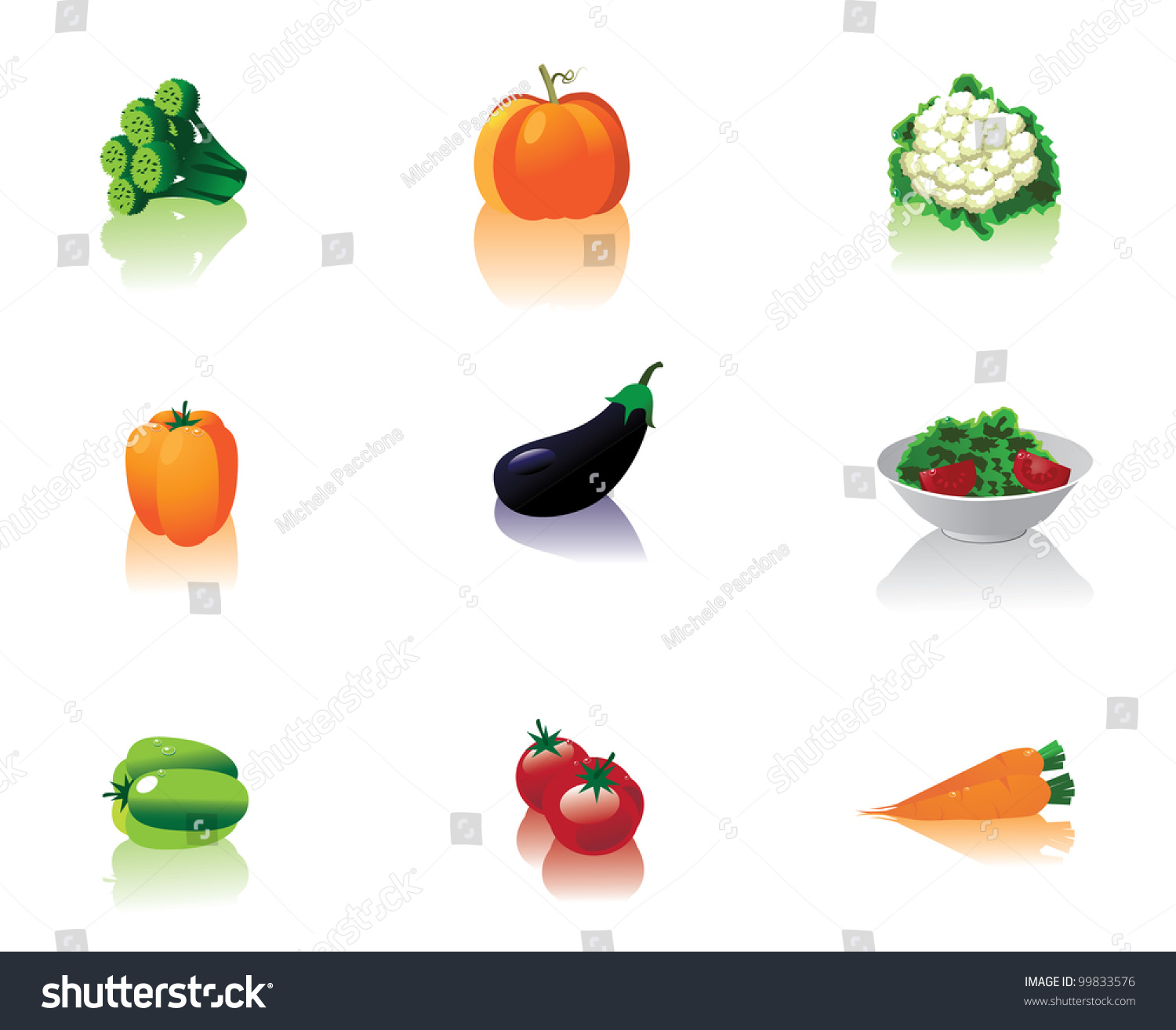 vegetable icon symbol set collection eps 8 vector