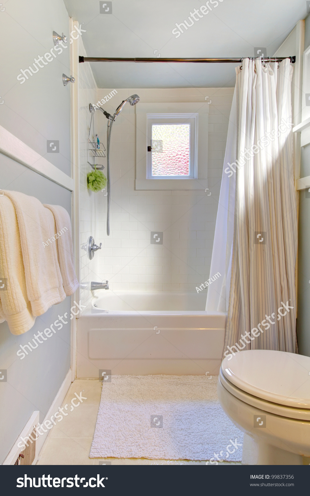 Small Blue Bathroom With Light Grey Blue And Shower