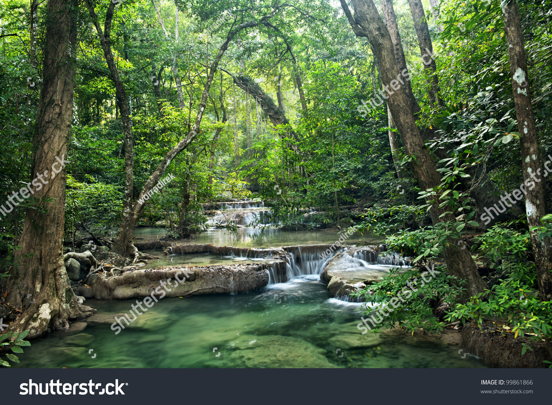 Wallpaper Erawan Falls, Waterfall, Erawan National Park, Thailand ...