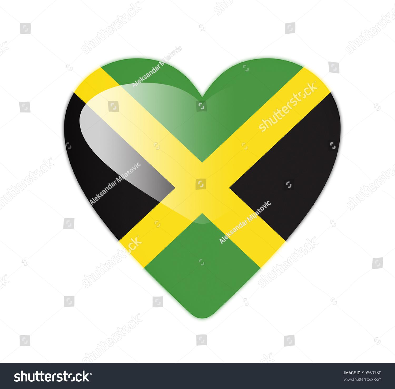 Jamaica 3d heart shaped flag