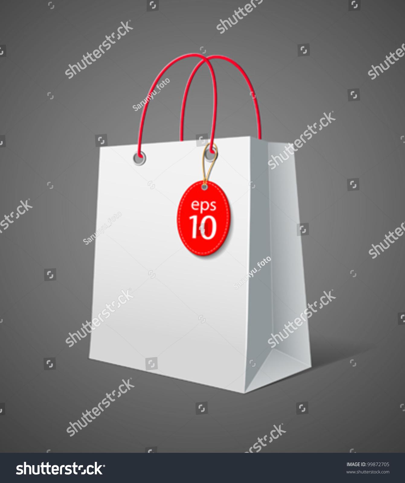Paper bag vector - White Paper Bag Vector Illustration