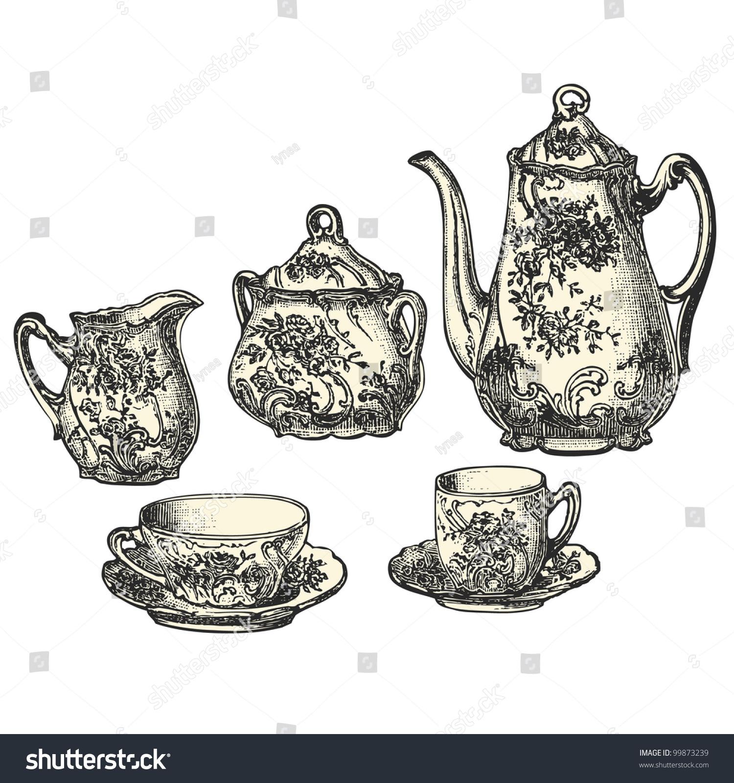 Tea Pot - Vintage Engraved Illustration - Catalog Of A ...