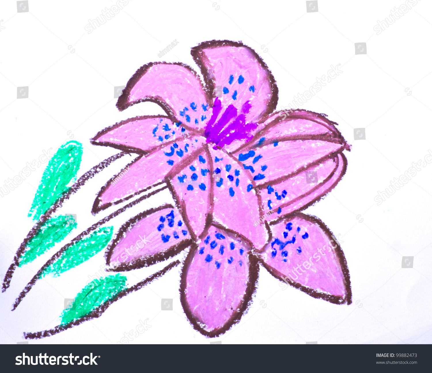 Crayon Drawings Pink Flower Stock Photo Edit Now 99882473