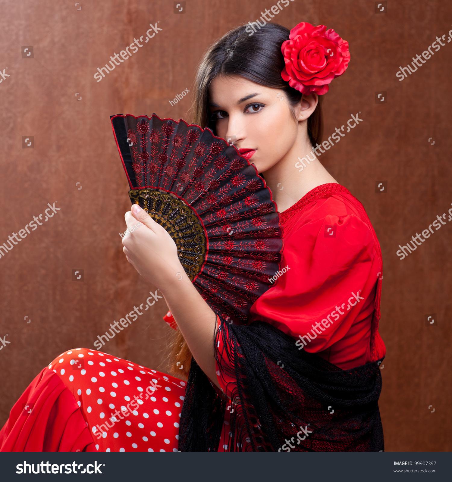 flamenco dancer spain woman gypsy red stock photo 99907397