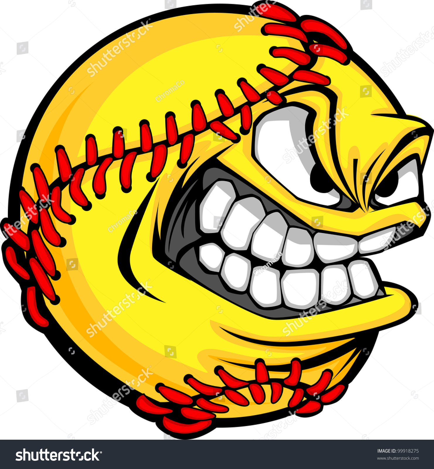 Vector Cartoon Fastpitch Softball Mean Face Stock Vector ...