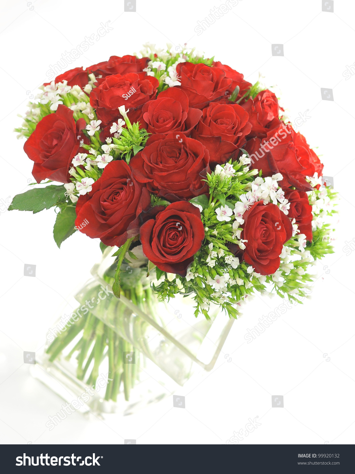 Red Rose Small White Flower Bouquet Stock Photo (Edit Now) 99920132 ...