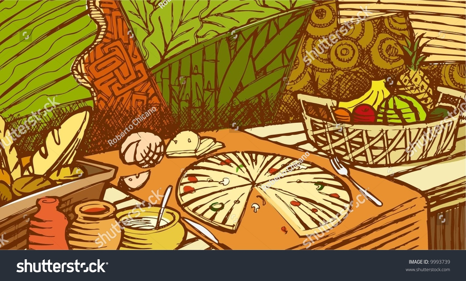 Food mural stock vector 9993739 shutterstock for Mural vector