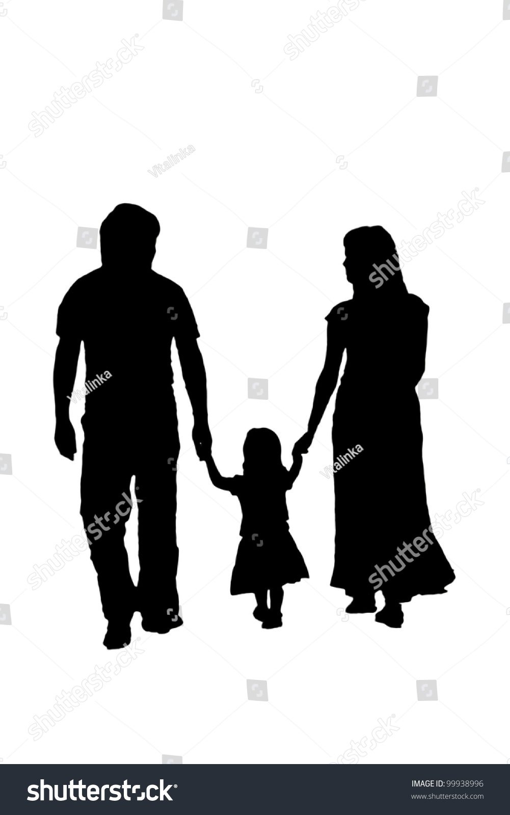 Silhouette Family Woman Man Baby Girl Loving People