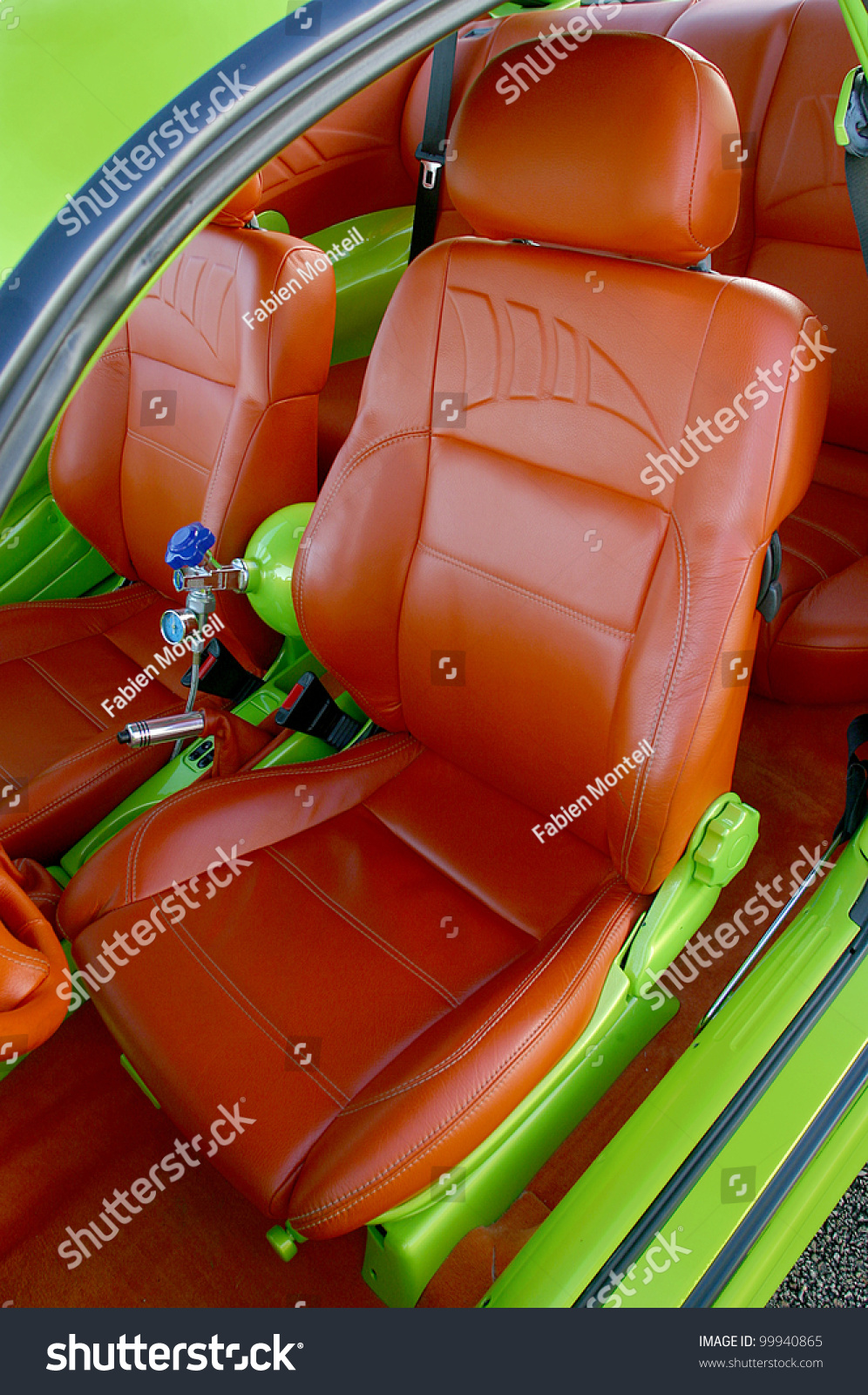 customized interior car orange leather seats stock photo 99940865 shutterstock. Black Bedroom Furniture Sets. Home Design Ideas
