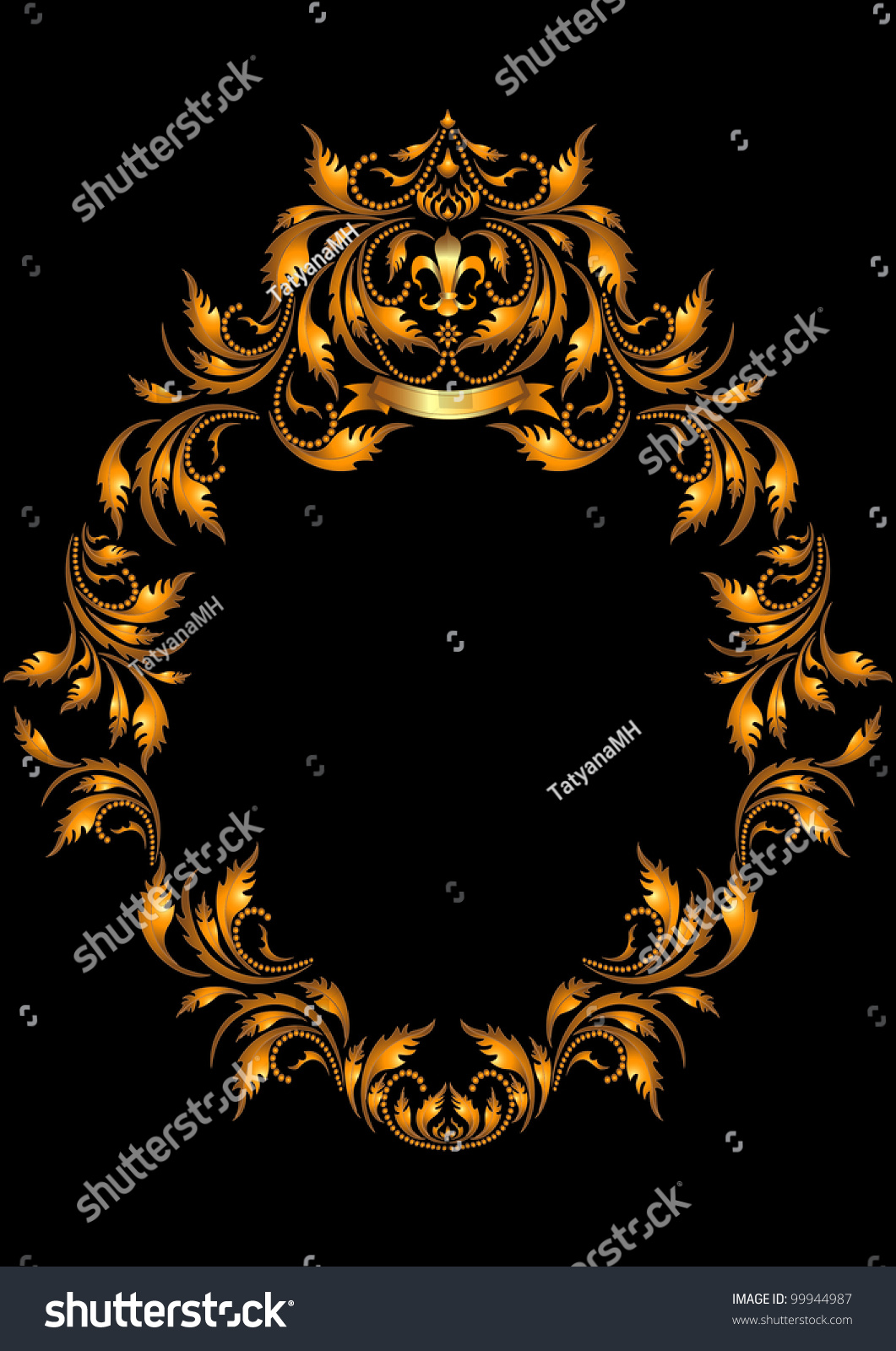 Gold Oval Frame Gothic Style On Stock Illustration 99944987 ...