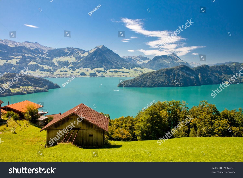 Beautiful View Lake Lucerne Vierwaldstattersee Mountain