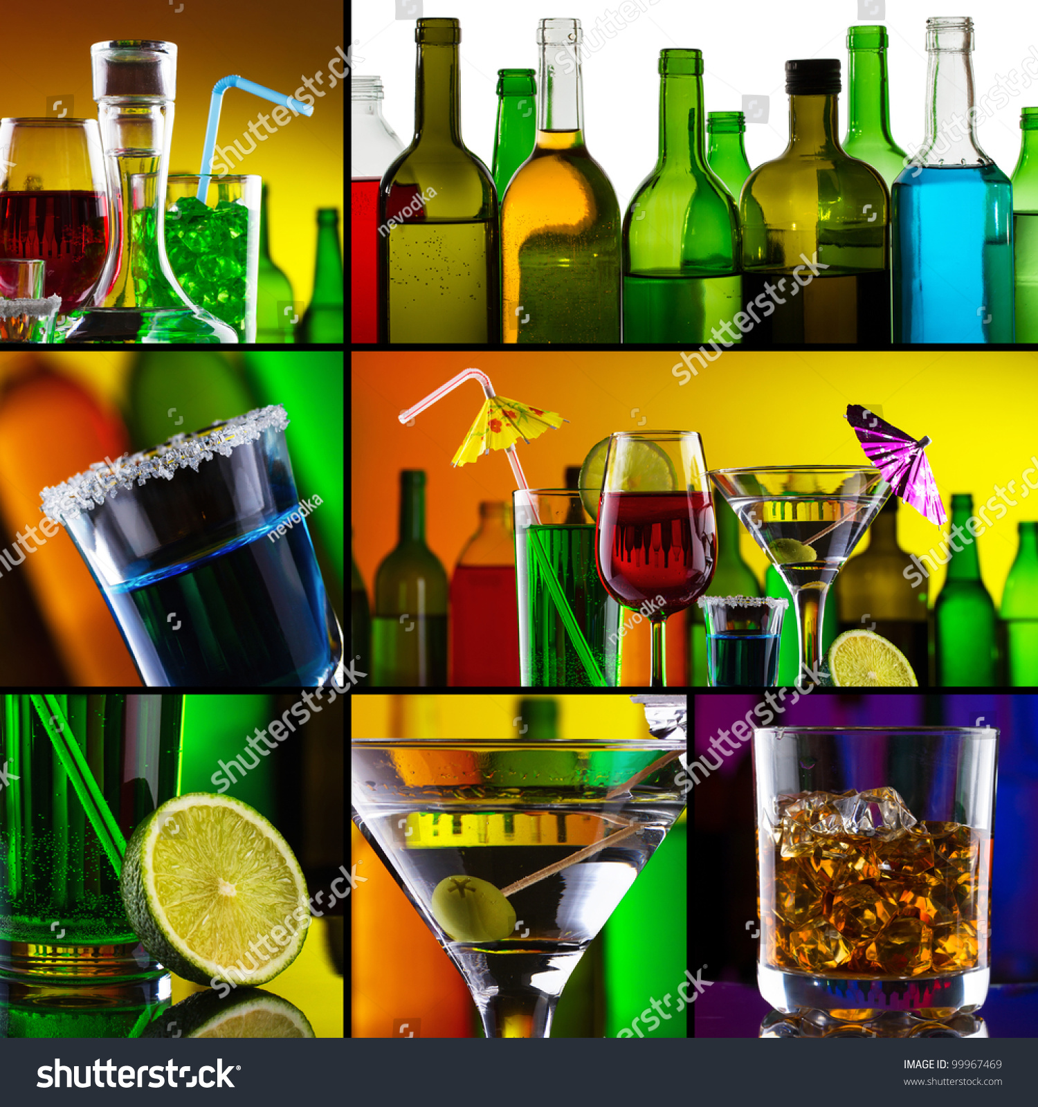 Beautiful Alcohol Drinks Collage Stock Photo 99967469