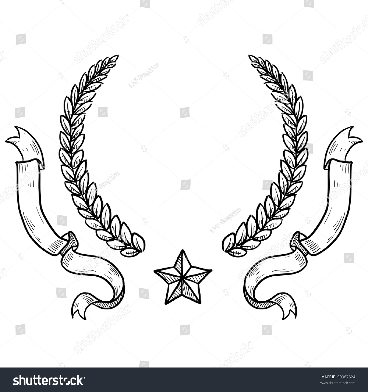doodle style military insignia crest wreath stock vector  doodle style military insignia crest wreath ribbon and star in vector format