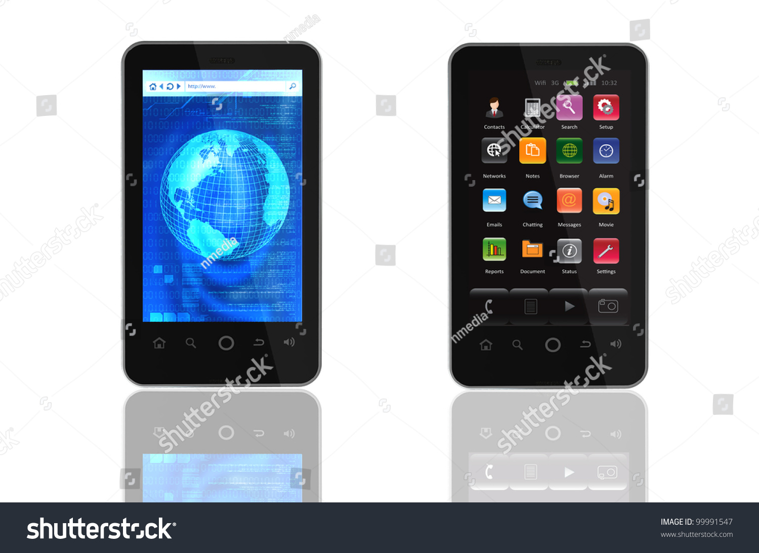 Two Generic Smartphone Templates Isolated White Stock ...