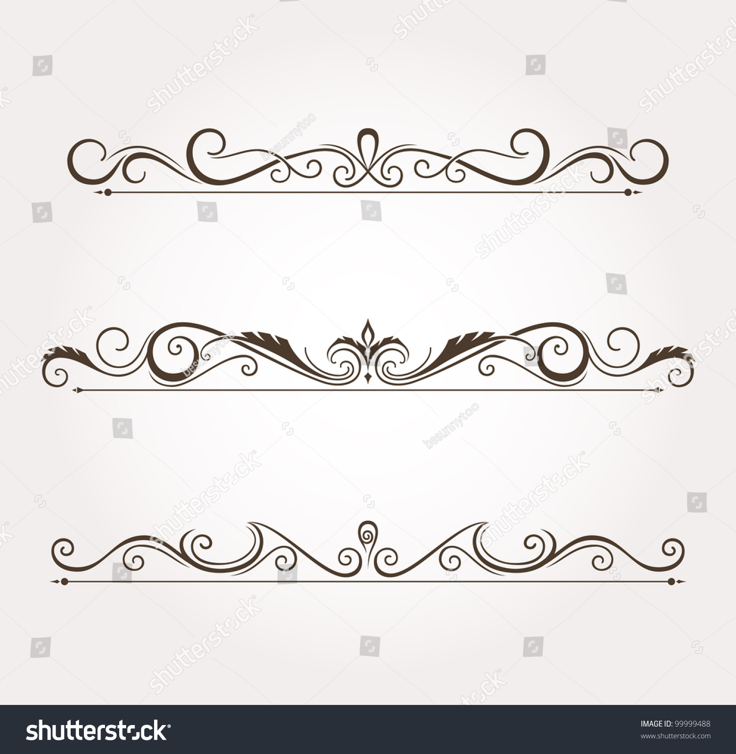 Set Calligraphic Floral Design Elements Page Stock Vector